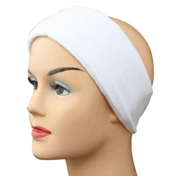 White Wide Padded Headband With Velcro