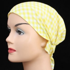 Yellow Gingham Petite Easy Tie Bandana